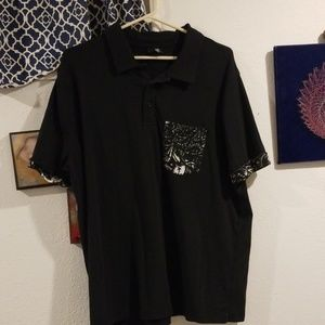 H&M Polo with patterned pocket and sleeve hem